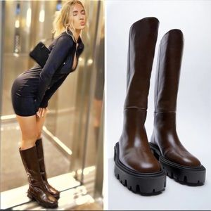 NWT Zara Leather Brown Tall Boots 8